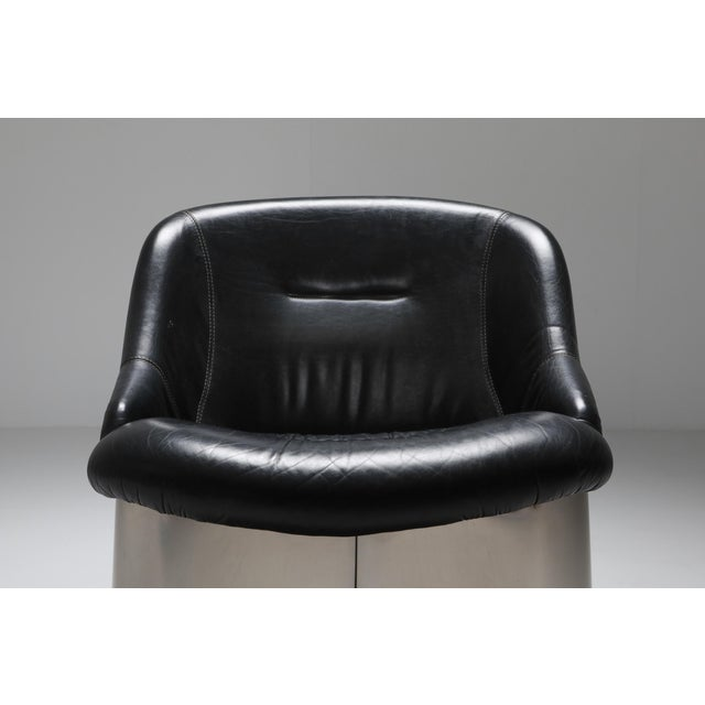 Metal 1970s Boris Tabaccof Leather and Metal Easy Chair For Sale - Image 7 of 9