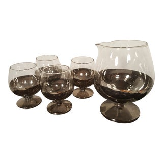 Dorothy Thorpe Brandy Server & Snifters With Silver Overlay Bottoms - Set of 5