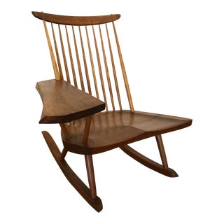 George Nakashima Hand Crafted Walnut Rocking Chair For Sale