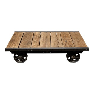 French Wood Coffee Table On Wheels, Circa 1890 For Sale