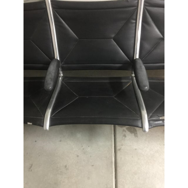 Herman Miller Black Slingback Airport 4-Seat Bench - Image 8 of 8