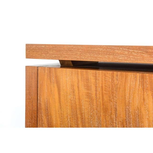 Brown French Modern Cerused Oak and Leather Four-Door Credenza, Style of Jacques Adnet For Sale - Image 8 of 9