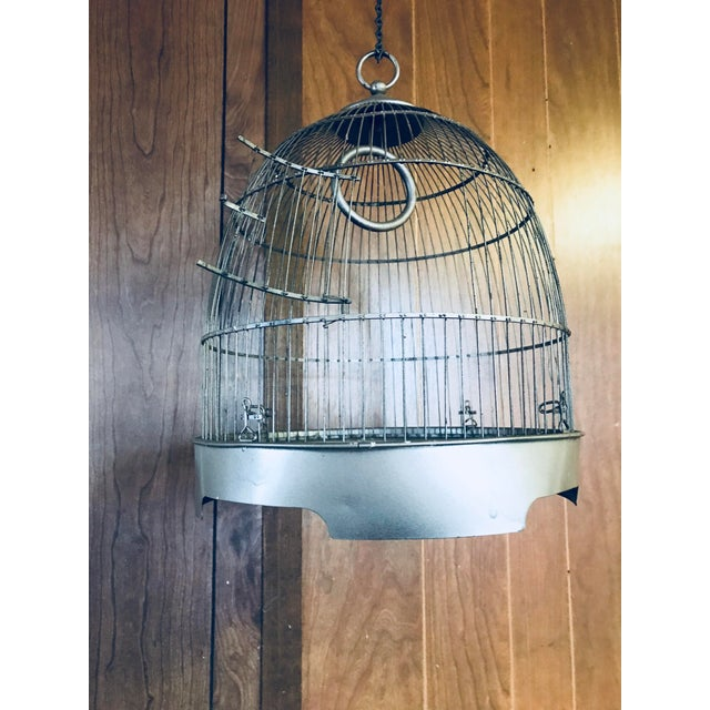 Vintage Brass Metal Dome Hanging Bird Cage - Image 2 of 7