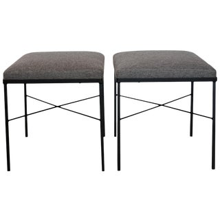 Pair of Iron X-Base Ottomans, 1950s For Sale