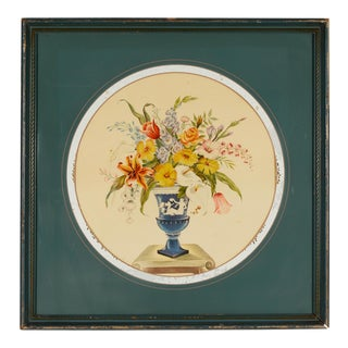 Greek Classical Floral Print With Overpainted Glass and Frame, 1960s For Sale