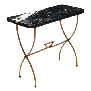 Vintage Black Marble Top Console Table For Sale