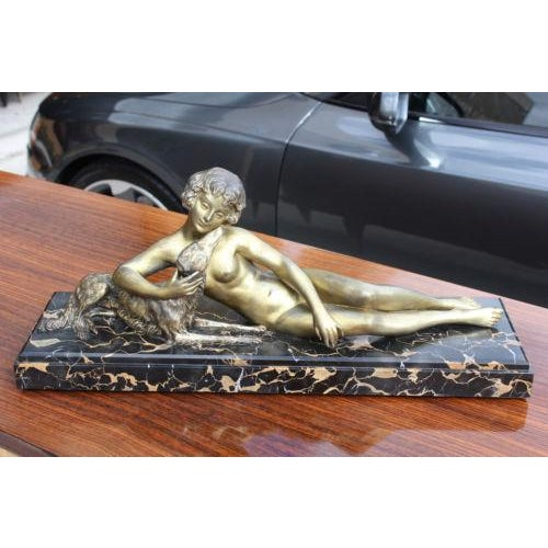 French Art Deco Patinated Metal Sculpture of a Deco Lady and Her Dog, C1940's - Image 6 of 8