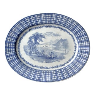 19th Century English Traditional Ironstone Transfeware Blue and White Platter For Sale