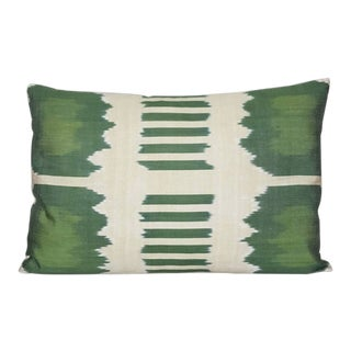 Green and Beige Silk Atlas Down Feather Pillow For Sale