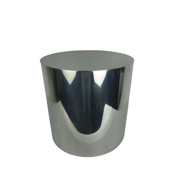 Abstract Aluminum Cylindrical Drum Table With Stainless Steel Top For Sale - Image 3 of 6