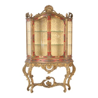 Italian Louis XV Style Painted Gilt Display Cabinet