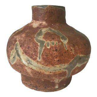 Vintage Mid Century Modern Ceramic Architectural Studio Stoneware Pottery Vase For Sale