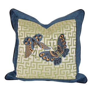 Woven Geometric Butterfly Pillow For Sale