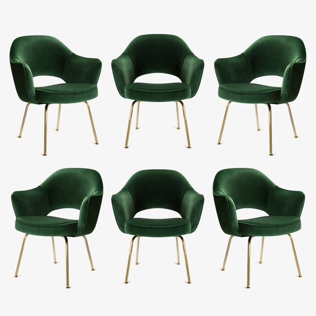 Original Vintage Saarinen Executive Arm Chairs Restored in Emerald Velvet, Custom 24k Gold Edition - Set of 6 For Sale - Image 9 of 9