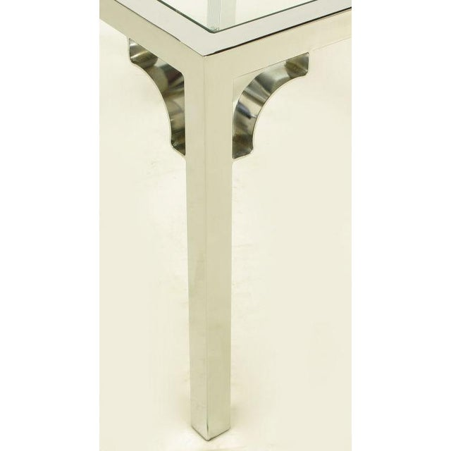 Chrome Parsons Style Chinese Chippendale X-Top End Table - Image 7 of 7