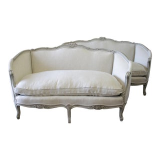 20th Century Carved and Painted Belgian Linen Settees- a Pair