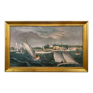 1889 Oil on Canvas American Folk Art by Chas Saunders. Gilt Frame For Sale