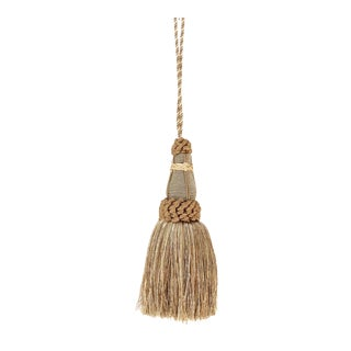 Sage Green Key Tassel With Looped Ruche For Sale