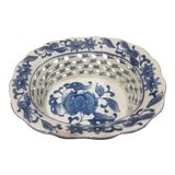 Image of Hand Painted Blue and White Pierced Porcelain Bowl For Sale