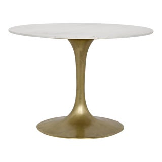 "QS Laredo Table, 40"", Antique Brass, White Marble Top For Sale"