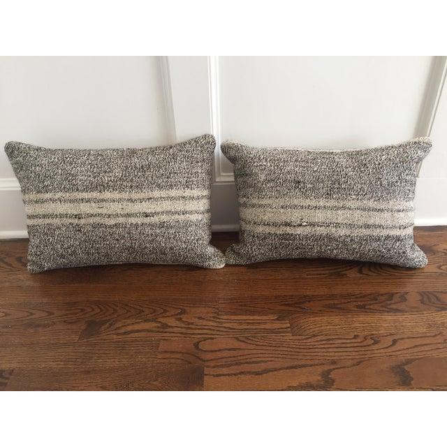 Ivory & Gray Kilim Pillows - A Pair - Image 2 of 5