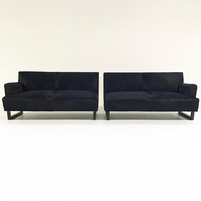 Forsyth One of a Kind 1950s Sectional Sofa in Natural Black Brazilian Cowhide For Sale - Image 4 of 8
