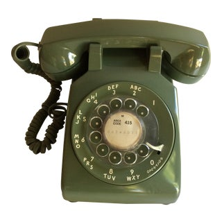 1960's Avocado Green Western Electric Dial Up Telephone For Sale