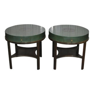 Tommi Parzinger Mid Century Green Leather Side Tables - a Pair For Sale