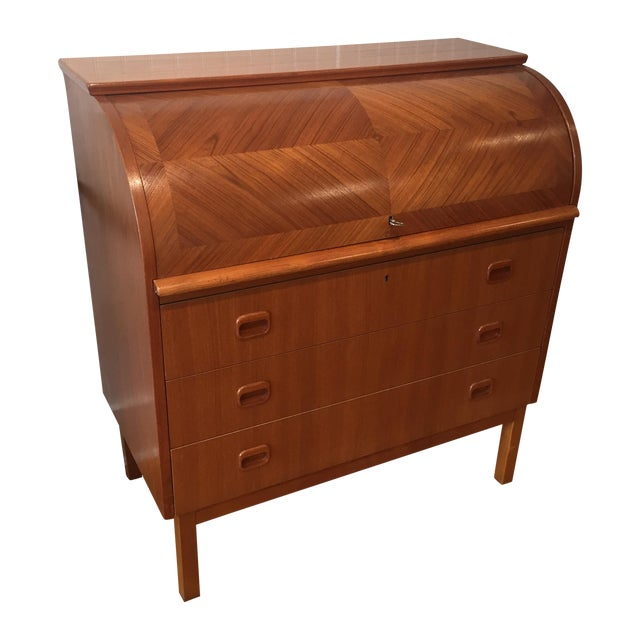 1960s Swedish Modern Roll Top Teak Secretary - Image 1 of 11