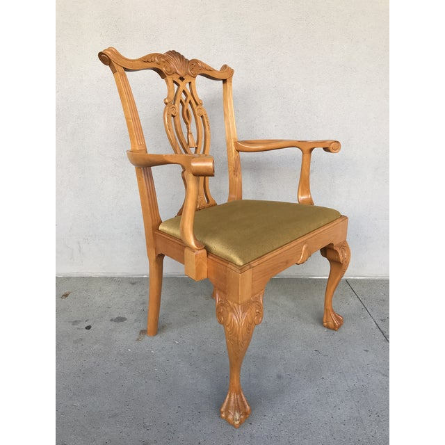 Set of 8 Chippendale style Mahogany dining chairs comprised of 6 side chairs and 2 host chairs. Carved with Scrolls, Fans...