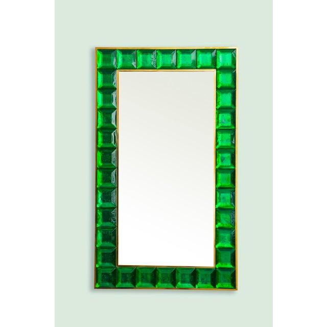 Green Contemporary Green Diamond Murano Glass Mirror For Sale - Image 8 of 8