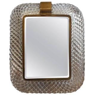 1940s Art Deco Murano Glass and Bronze Vanity Mirror