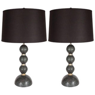 Modernist Handblown Murano Table Lamps in Smoked Gunmetal For Sale