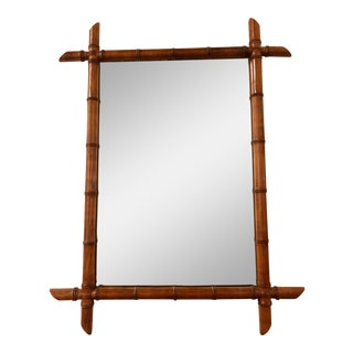 Late 19th Century French Wood Framed Faux Bamboo Mirror For Sale