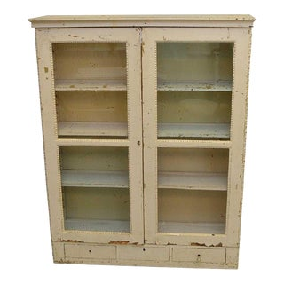 Antique French Hand Painted Off White Bookcase For Sale