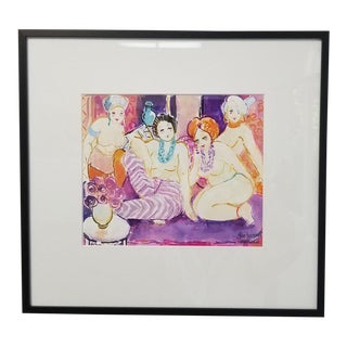 Eva Hannah The Harem: Framed Gouache Painting For Sale