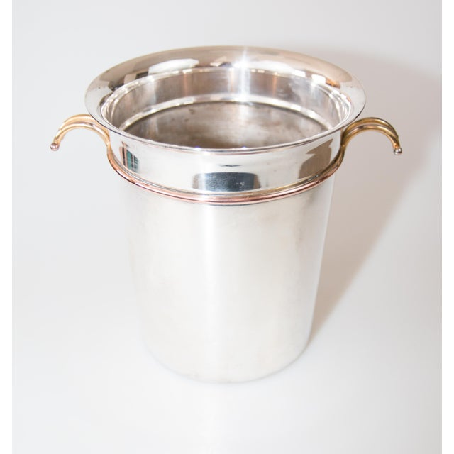 Art Deco French Art Deco Silver Plate & Brass Champagne Bucket For Sale - Image 3 of 9