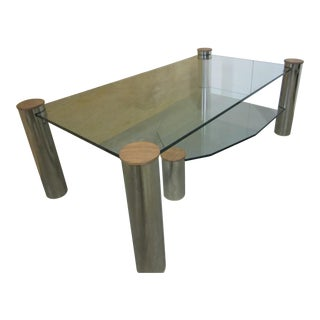 "Large Glass and Nickel ""Arctic Slab"" Coffee Table by Yves Maxx For Sale"