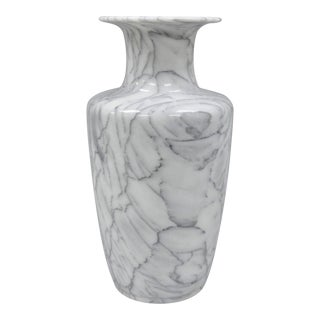 Italian Marble White & Grey Vase