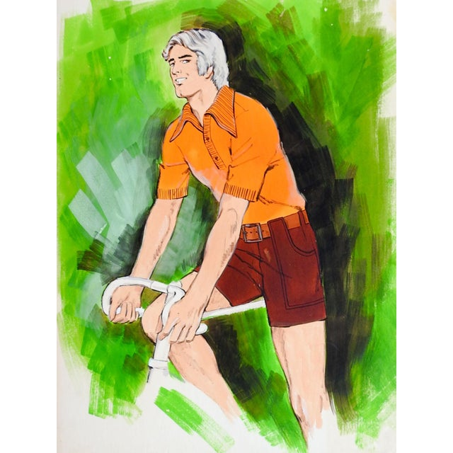 Mid-Century Modern Vintage Mens Fashion Illustration Man Bicycle & Shorts For Sale - Image 3 of 3