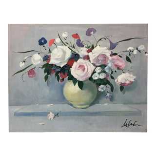 """Vintage Impressionism """"Flowers Bouquet in Vase"""" Painting For Sale"""