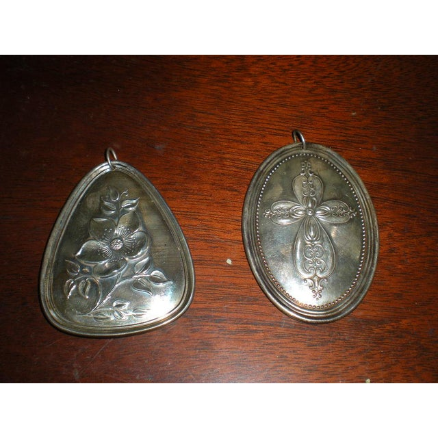 Here are two pretty sterling medallions signed by Towle. They are versatile. You can hang them on your wall or put a...