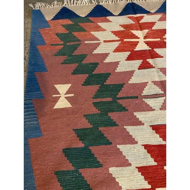 Vintage Antique Handwoven Flat Weave Wool Turkish Aztec Navajo Print Area Rug Area Rug Has normal wear from age/storage....