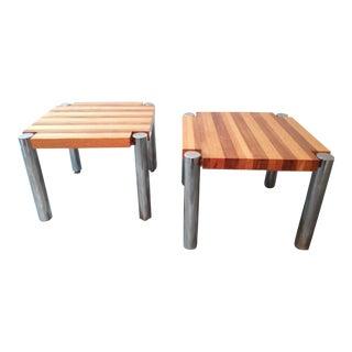 1960s Mid-Century Butcher Block Teak Side Tables - a Pair For Sale