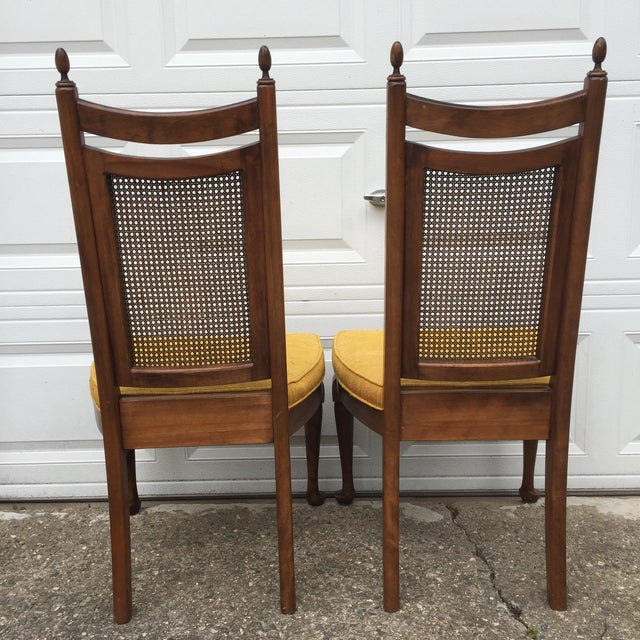 1960s Early American Wood Cane Dining Chairs - a Pair For Sale - Image 5 of 6
