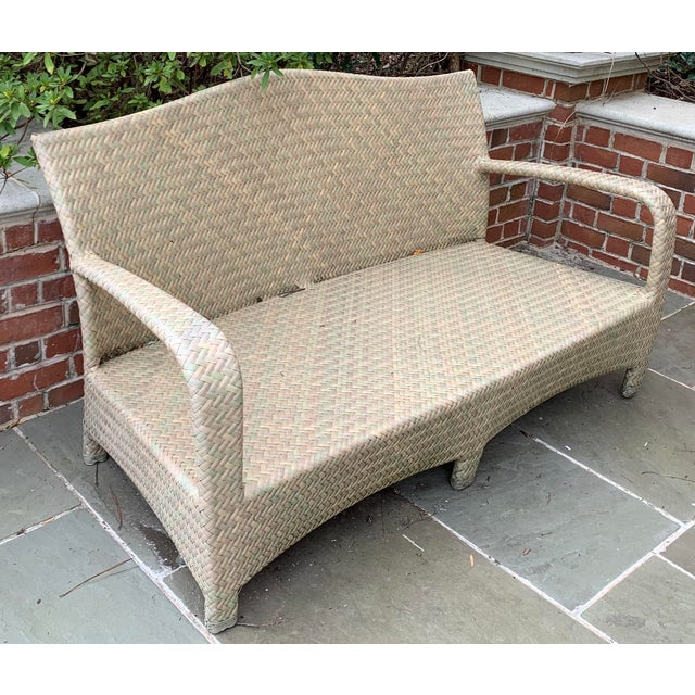 BROWN JORDAN HAVANA SEAGRASS LOVESEAT SOFA PATIO Very Good Condition. A Brown Jordan patio love seat. The Havana love seat...