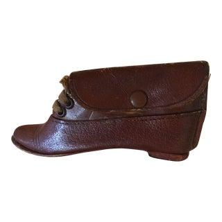 Antique Miniature Leather Shoe For Sale