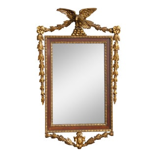 Antique French Louis XVI Eagle Motif Federal Style Gold Wall Mantle Mirror For Sale