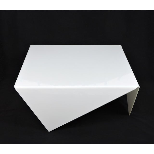 Mid-Century Modern Mid-Century Modern Bertin France Mouchoir Style White Acrylic Coffee Table For Sale - Image 3 of 10
