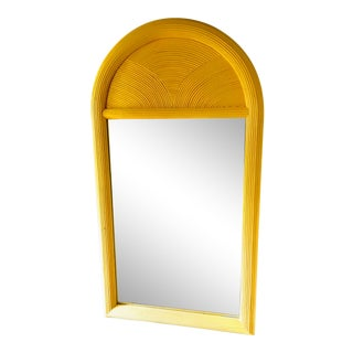 Vintage Pencil Reed Bamboo Wall Mirror For Sale